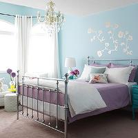 Margot Austin - girl's rooms - metal bed, turquoise walls, turquoise blue walls, turquoise nightstand, turquoise blue nightstand, purple bedding, floral walls tickers,