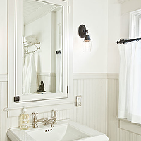 Jessica Helgerson Interior Design - bathrooms - beadboard backsplash, beadboard bathroom, bathroom beadboard, gray beadboard, gray beadboard backsplash, gray beadboard bathroom, light gray beadboard, light gray beadboard backsplash, inset medicine cabinets, cafe curtains, bathroom cafe curtains,