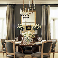 BHG - dining rooms - dining table, dining chairs, gray rooms, gray dining rooms, gray walls, gray dining chairs, gray french dining chairs, french dining chairs, gray curtains, gray drapes, grays ilk curtains, gray silk drapes,