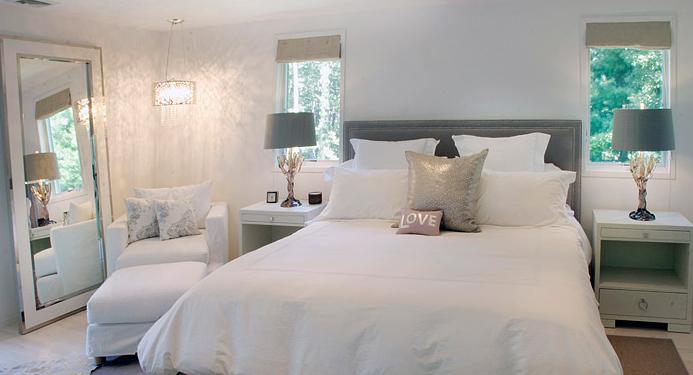 White Floor Mirror Transitional Bedroom Elsa Soyars
