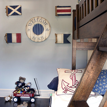 Elsa Soyars - boy's rooms - bunk beds, brown bunk beds, boys bunk beds, nautical boys room, nautical boys bedroom, nautical theme boys room, nautical themed boys room,