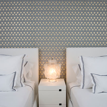 Haus Interior - bedrooms - hex wallpaper, hexagon wallpaper, hicks hex wallpaper, hicks wallpaper, david hicks wallpaper, white headboards, twin headboards, west elm nightstands, hotel bedding,
