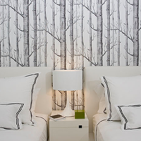 Haus Interior - bedrooms - twin beds, shared kids room, shared kids bedroom, woods wallpaper, white headboards, west elm nightstand, shared nightstand, Woods Wallpaper,