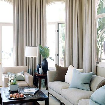 BHG - living rooms: linen curtains, linen drapes, linen sofa,  Serene Living in warm taupe, chocolate brown. and robin's egg blue...