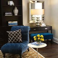 Turquoise LA - dens/libraries/offices - pottery barn brown moorish tile rug, blue chair, blue velvet chair, tufted chair, blue tufted chair, brown trellis rug, brown moorish tile rug, quatrefoil rug, brown quatrefoil rug, slipper chair, tufted slipper chair, saarinen side table,