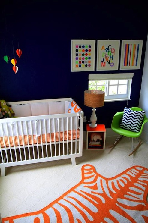 nurseries - Benjamin Moore - van deusen blue - Jonathan Adler Zebra Rug, orange, zebra, rug, Giggle.com Bedding, Oeuf Furniture, Eames Rocking Chair, Artwork by Samantha Kurland, blue walls, blue paint, blue paint color, blue nursery walls, blue nursery paint, blue nursery paint color,