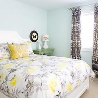 Erinn V Design Group - bedrooms - white, gray, striped, pillows, yellow, gray, floral, pillows, duvet, bedding, green, asian, altar, tables, nightstands, blue, walls, white, black, damask, drapes, yellow and gray bedding, gray and yellow bedding, gray and yellow bedding, yellow and gray bedroom design, gray and yellow, yellow and gray, Schumacher Charcoal Chenonceau,