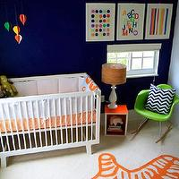 nurseries - Benjamin Moore - van deusen blue - orange, zebra, rug, Giggle.com Bedding, Oeuf Furniture, Eames Rocking Chair, Artwork by Samantha Kurland, blue walls, blue paint, blue paint color, blue nursery walls, blue nursery paint, blue nursery paint color,
