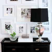 Kerrisdale Design - entrances/foyers - photo gallery, photo walls, photo wall collage, photo wall ideas, family photo walls, black console table, console table, high gloss console table, mercury glass lamp, Bay Trading Tamara Hall Table Ebony, design by Kerrisdale Design Inc,