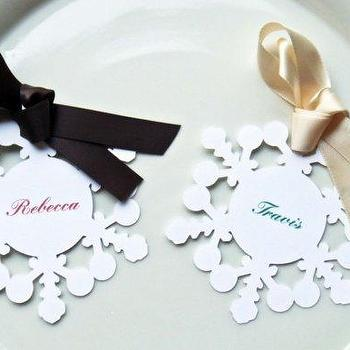 Miscellaneous - Snowflake Place Card / Tags set of 12 by cuddlecreature on Etsy - snowflake, place cards, holiday