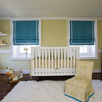 Angie Hranowski - nurseries - roman shades, window treatments, teal roman shades, teal window treatments, yellow walls, yellow and teal nursery,