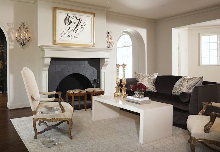 Charcoal Gray Velvet Sofa Transitional Living Room Ashley Goforth Design