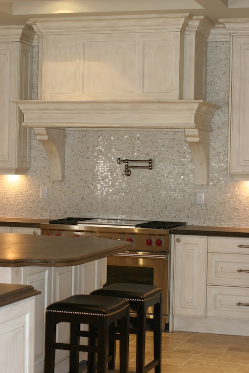 mosaic tile backsplash transitional kitchen