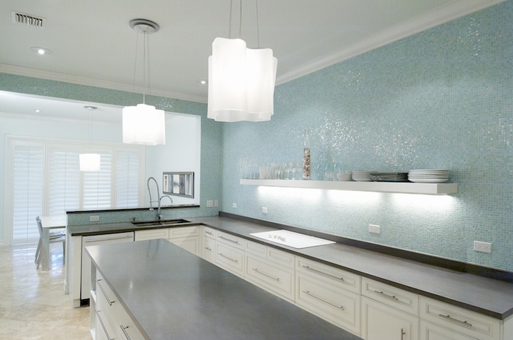 Turquoise Glass Tile Backsplash Contemporary Kitchen