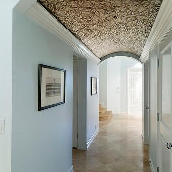 entrances/foyers - wallpaper, wallpapered ceiling, ceiling, foyer, white door, turquoise walls, barrel ceiling, foyer barrel ceiling,  Designed