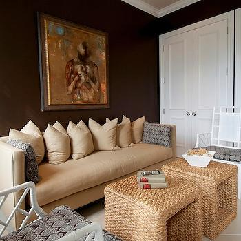 dens/libraries/offices - Raoul fabric, brown, bamboo chairs, white lacquer, den, sofa, wallpapered ceiling, Lee Jofa, seagrass ottomans, seagrass coffee tables, camel sofa,