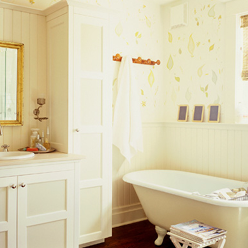 House & Home - bathrooms - gold leaf mirror, clawfoot tub, bamboo roman shade, cottage bathroom, beadboard backsplash, bathroom beadboard,  Charming