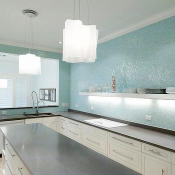 kitchens - glass tile, mosaic tile, kitchen, concrete coutertops, turquoise, modern, Terri Pakravan, glass tile backsplash, glass tile kitchen backsplash, turquoise glass tiles, turquoise glass backsplash, turquoise glass tile backsplash, turquoise glass kitchen backsplash, turquoise iridescent tiles, turquoise iridescent backsplash,