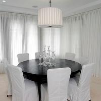 dining rooms - Dining room, slipcovered chairs, white modern, clean round table, dining table, round dining table, round dining room table, round dining table seats 10, round dining room table seats 10, black dining table, black round dining table, dining table seats 10,