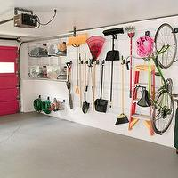 House Beautiful - garages - hot pink, garage, door, Gladiator GarageWorks's GearTrack Channels,  Annie Selke's Garage - Hot pink interior garage