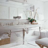 bathrooms - White, Marble, Console, Bathroom, Chrome, Mirror, Carrera, sconces, X-base vanity bench,  By Timothy Whealon  Elegant marble bath