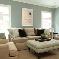 Ashley Goforth Design - living rooms - blue, gray, walls, white, blue, mitered, pillows, tan, velvet, sofa, chairs, white, blue, greek, key, tufted, ottoman, nailhead trim, caster, legs, black, velvet, pillows, blue, skirted table, white, gourd, lamps, sisal rug,