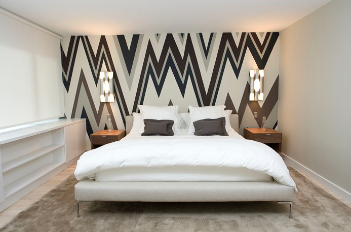 wallpapered accent wall contemporary bedroom haus