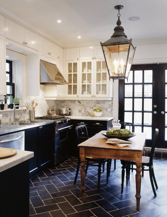 White Upper Cabinets and Black Lower Cabinets  Transitional  kitchen