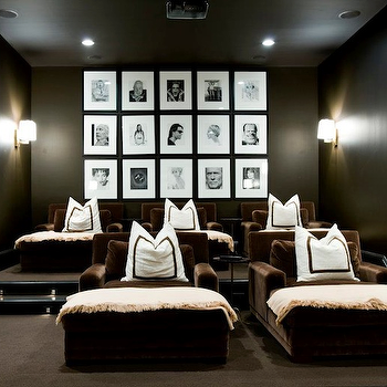 Melanie Turner Interiors - media rooms - photo walls, photo wall collage, photo wall ideas, black and white photo wall, movie room, movie room ideas, basement movie room, basement movie room ideas, brown velvet chaise lounge, brown chaise lounge, velvet chaise lounge, black and white pillows,
