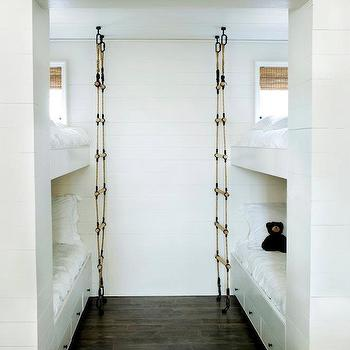 Melanie Turner Interiors - boy's rooms - roman shades, rope ladders, bunk bed ladders, removable bunk bed ladders, white bunk bed ladders, bunk beds, built in bunk beds,