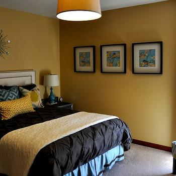 bedrooms - mustard yellow walls, musard yellow paint, mustard yellow paint colors,  bedroom  yellow walls, pintuck duvet, turquoise blue & yellow