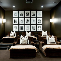 Melanie Turner Interiors - media rooms - black, walls, chocolate brown, velvet, lounge chairs, white, pillows, brown, ribbon trim, ivory, cahmere, throws, black, white, photo gallery, modern, polished nickel, sconces, photo walls, photo wall collage, photo wall ideas,