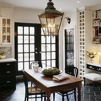 kitchens - glossy, black, French doors, black lower cabinets, white upper cabinets, black, tiles, herringbone, chevron, pattern, white, carrara, marble, countertops, subway tiles, backsplash, rustic, farmhouse, table, black, cafe, chairs, black, lantern, built-in, wine rack, desk,