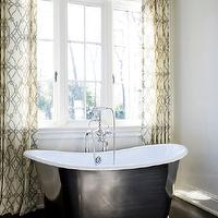 Melanie Turner Interiors - bathrooms - fioretta sprout fabric, fioretta sprout fabric curtains, fioretta sprout fabric drapes, fioretta sprout curtains, fioretta sprout drapes, freestanding bathtub, Fioretta Sprout Fabric, Waterworks Candide Tub,