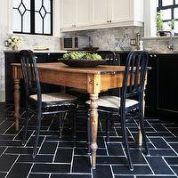 kitchens - two tone cabinets, white upper cabinets black lower cabinets, white upper cabinets and black lower cabinets, black and white kitchen, black herringbone floor, black herringbone tiles, black herringbone tiled floor, farmhouse dining table, black dining chairs,