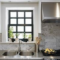 kitchens - white upper cabinets, black lower cabinets, white, carrara, marble, subway tiles, backsplash, stainless steel appliances,  Tommy Smythe