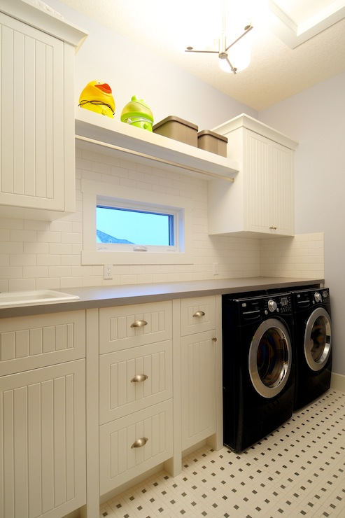 Beadboard Laundry Room Cabinets Cottage