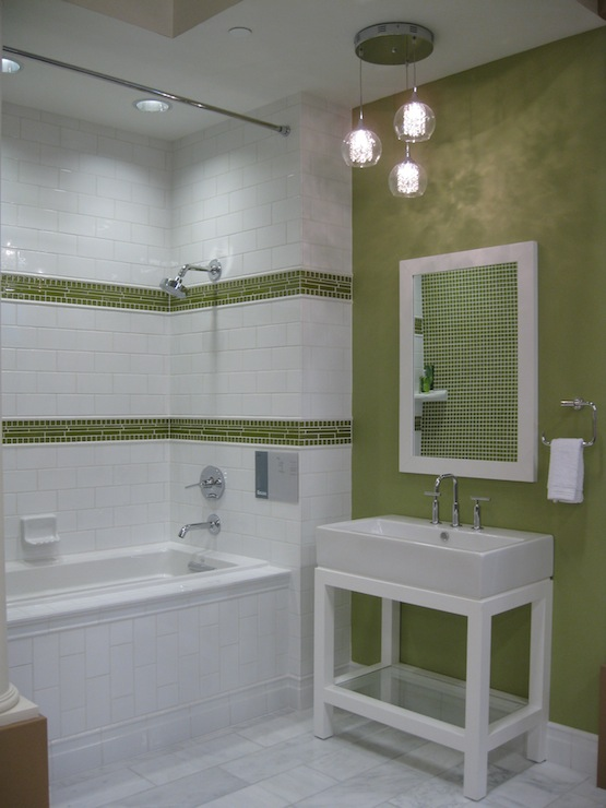 Green Border Tiles Contemporary Bathroom