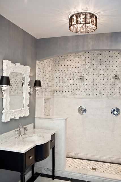 Gray bathroom contemporary bathroom for Bathroom ideas marble tile