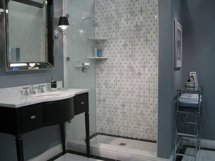 Black washstand transitional bathroom for Blue and black bathroom ideas