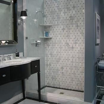 bathrooms - black vanity, black bathroom vanity, black washstand, gray walls, gray bathroom walls, shower alcove, alcove shower, carrera marble, carrera marble countertop, carrera marble basketweave tiles, carrera marble basketweave shower, beveled mirror, Restoration Hardware Venetian Beaded Mirror,