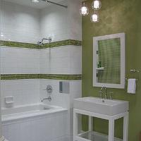 bathrooms - green tiles, green border tiles, white and green tiles, white and green bathroom, green walls, white lacquer mirror, parsons mirror, white parsons mirror, white washstand, white parsons washstand, parsons  washstand, subway tiles, subway tiled shower,
