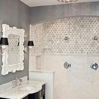 The Tile Shop - bathrooms - espresso, chic, vanity, gray, walls, white, carrara, marble, countertops, white, carrara marble, basketweave, tiles, shower surround, white, rococo, mirror, sconces, black shades, gray bathroom, , Horchow Baroque Style Mirror, Possini Black Thread Crystal Halogen Ceiling Light,