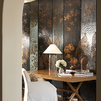 Ashley Goforth Design - dens/libraries/offices - chinoiserie floor screen, chinoiserie folding screen, black floor screen, black folding screen, black and gold floor screen, black and gold folding screen, x base desk, x desk,