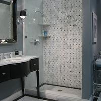 The Tile Shop - bathrooms - chic, bathroom, vanity, white, carrara, marble, countertop, beveled, mirror, sconces, blue, gray, walls, marble, basketweave, tiles, shower surround, Restoration Hardware Venetian Beaded Mirror,