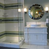 The Tile Shop - bathrooms - white, bathroom, vanity, sink, white, vessel, sink, mirror, gray, walls, green, blue, ceramic tiles,  Kirsty Froelich