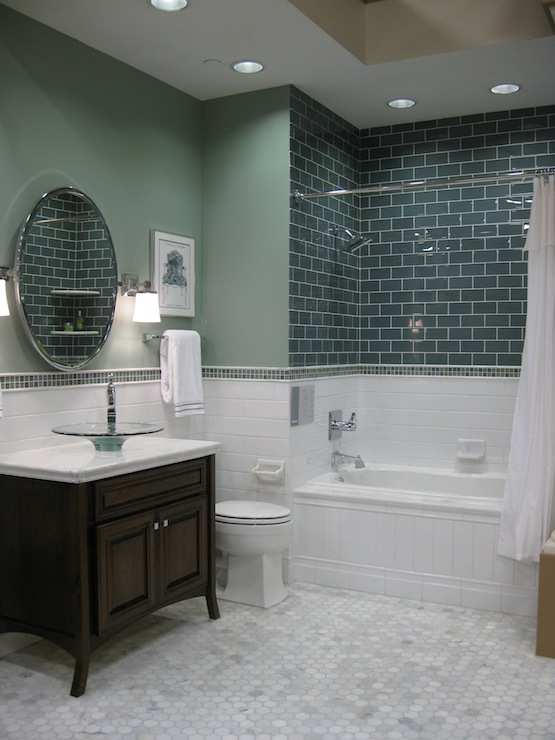 bathrooms - green, ceramic, subway tiles, shower surround, white, carrara, marble, hex, hexagon, tiles, floor, Kohler, glass, vessel sink, green, gray, walls, round, pivot, mirror,