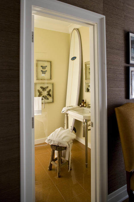 Surfboard Decor - Cottage - bathroom - Philip Gorrivan Design