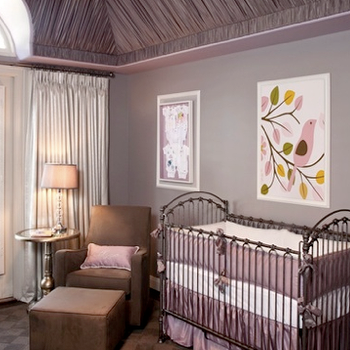Little Crown Interiors - nurseries - purple nursery, purple nursery design, purple nursery ideas, purple and gray nursery, purple and brown nursery, purple and gray nursery ideas, purple and brown nursery ideas, gray walls, gray nursery walls, purple ceiling, fabric covered ceiling, purple crib bedding, purple crib bumper, brown nursery glider, brown nursery ottoman, brown glider and ottoman, metal crib, metal nursery crib, Venetian Crib, Lavender Silk Crib Bedding Set,