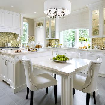 Brandon Barre Photography - kitchens - yellow tiles, yellow mosaic tiles, yellow mosaic tile backsplash, yellow backsplash, yellow kitchen backsplash, white cabinets with yellow backsplash, curved range hood, curved kitchen hood, paneled range hood, curved paneled range hood, curved paneled kitchen hood, eat in kitchen, island dining table, kitchen island dining table,
